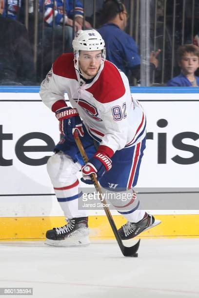 Jonathan Drouin of the Montreal Canadiens skates with the puck against the New York Rangers at Madison Square Garden on October 8 2017 in New York...
