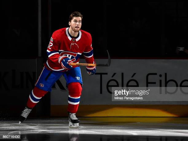 Jonathan Drouin of the Montreal Canadiens takes to the ice during the pre game ceremony prior to the NHL game against the Chicago Blackhawks at the...