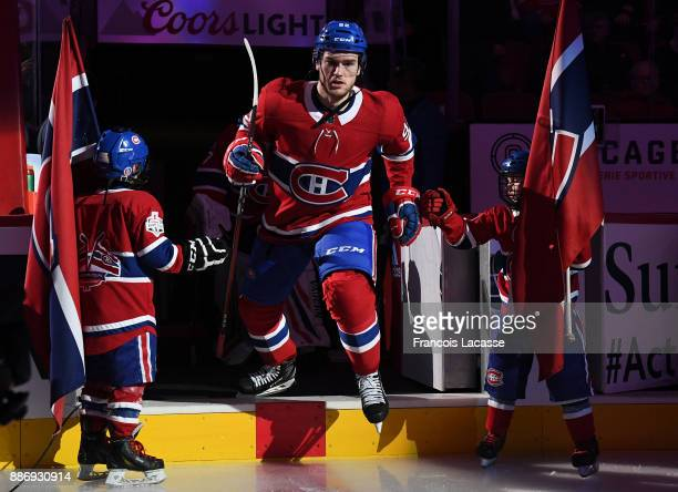 Jonathan Drouin of the Montreal Canadiens takes to the ice prior the NHL game against the Buffalo Sabres at the Bell Centre on November 25 2017 in...