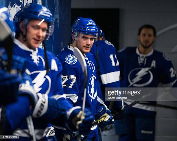 Jonathan Drouin of the Tampa Bay Lightning against the Montreal Canadiens before the pregame warm ups in Game Four of the Eastern Conference...