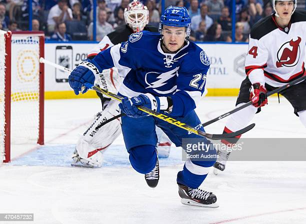 Jonathan Drouin of the Tampa Bay Lightning against the New Jersey Devils during the third period at the Amalie Arena on April 9 2015 in Tampa Florida