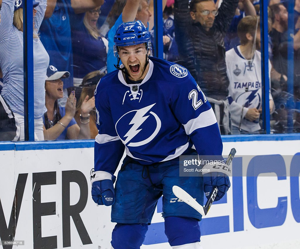<a gi-track='captionPersonalityLinkClicked' href=/galleries/search?phrase=Jonathan+Drouin+-+Eishockeyspieler&family=editorial&specificpeople=10884241 ng-click='$event.stopPropagation()'>Jonathan Drouin</a> #27 of the Tampa Bay Lightning celebrates his goal against the New York Islanders during the first period of Game Two of the Eastern Conference Second Round in the 2016 NHL Stanley Cup Playoffs at the Amalie Arena on April 30, 2016 in Tampa, Florida.