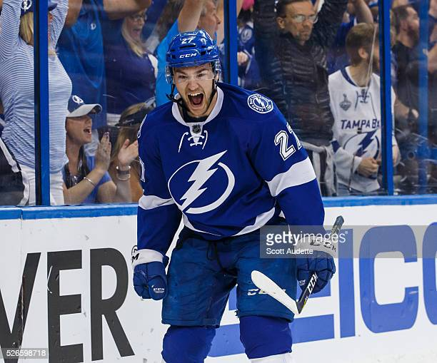 Jonathan Drouin of the Tampa Bay Lightning celebrates his goal against the New York Islanders during the first period of Game Two of the Eastern...