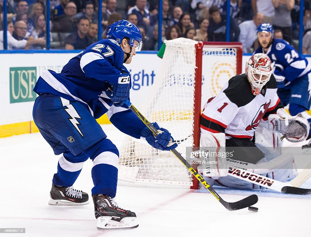 Jonathan drouin jersey - Jonathan Drouin 27 Of The Tampa Bay Lightning Controls The Puck Against Goalie Keith Kinkaid