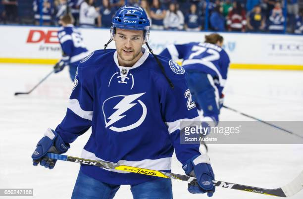 Jonathan Drouin of the Tampa Bay Lightning gets ready for the game against the Arizona Coyotes at Amalie Arena on March 21 2017 in Tampa Florida