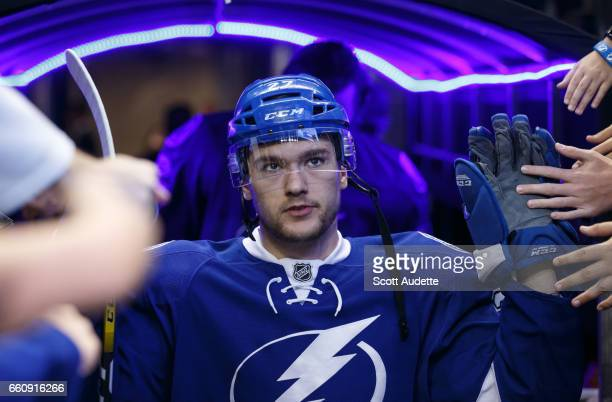 Jonathan Drouin of the Tampa Bay Lightning gets ready for the game against the Detroit Red Wings at Amalie Arena on March 30 2017 in Tampa Florida