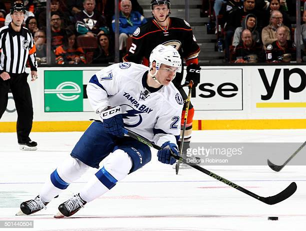 Jonathan Drouin of the Tampa Bay Lightning handles the puck during the game against the Anaheim Ducks on December 2 2015 at Honda Center in Anaheim...
