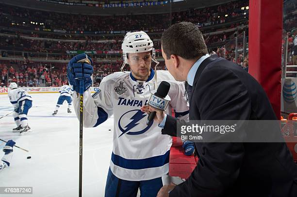 Jonathan Drouin of the Tampa Bay Lightning is interviewed prior to Game Three of the 2015 NHL Stanley Cup Final against the Chicago Blackhawks at the...