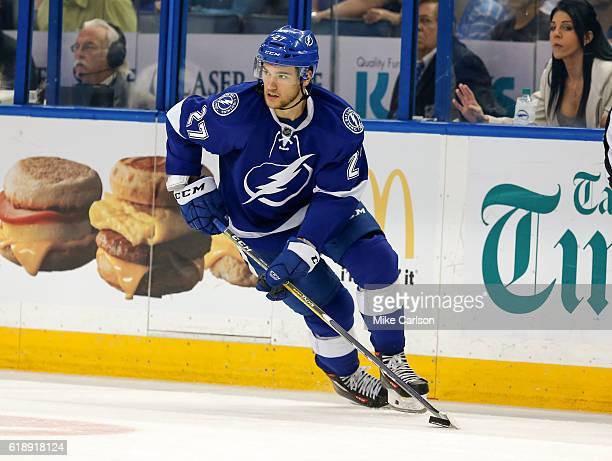 Jonathan Drouin of the Tampa Bay Lightning looks to pass against Florida Panthers during the third period at the Amalie Arena on October 18 2016 in...