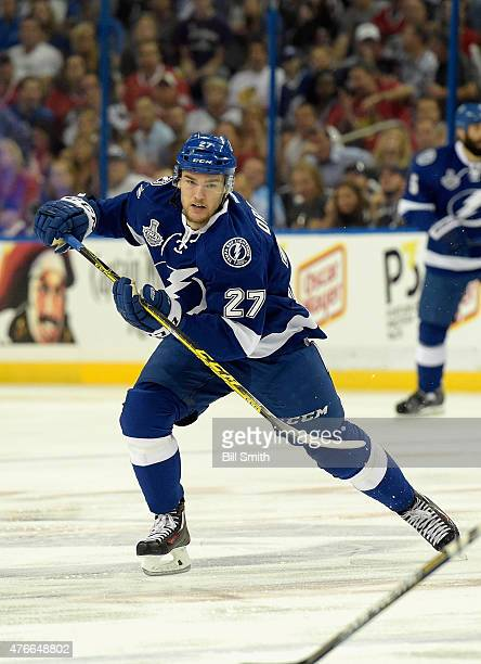 Jonathan Drouin of the Tampa Bay Lightning plays against the Chicago Blackhawks in Game Two of the 2015 NHL Stanley Cup Final at Amalie Arena on June...