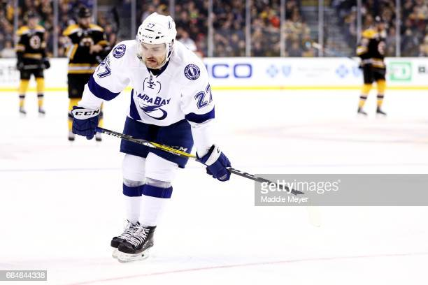 Jonathan Drouin of the Tampa Bay Lightning reacts during the third period against the Boston Bruins at TD Garden on April 4 2017 in Boston...