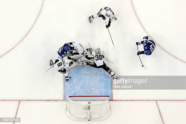 Jonathan Drouin of the Tampa Bay Lightning scores a goal against Matt Murray of the Pittsburgh Penguins during the second period in Game Four of the...