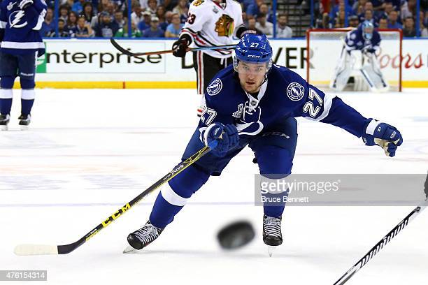 Jonathan Drouin of the Tampa Bay Lightning skates after the puck against the Chicago Blackhawks during Game Two of the 2015 NHL Stanley Cup Final at...