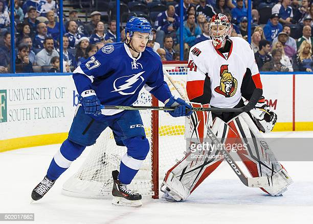 Jonathan Drouin of the Tampa Bay Lightning skates against goalie Craig Anderson of the Ottawa Senators during third period at the Amalie Arena on...