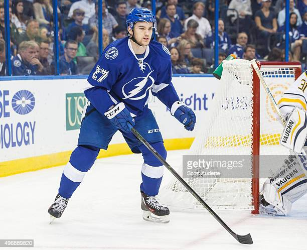 Jonathan Drouin of the Tampa Bay Lightning skates against the Buffalo Sabres during first period at the Amalie Arena on November 10 2015 in Tampa...