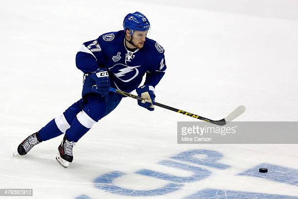 Jonathan Drouin of the Tampa Bay Lightning skates against the Chicago Blackhawks during Game Two of the 2015 NHL Stanley Cup Final at Amalie Arena on...
