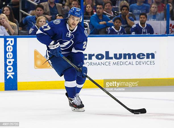 Jonathan Drouin of the Tampa Bay Lightning skates against the Dallas Stars during the third period at the Amalie Arena on October 15 2015 in Tampa...