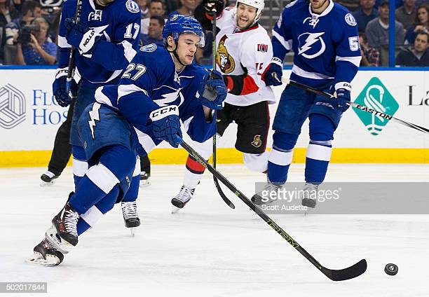 Jonathan Drouin of the Tampa Bay Lightning skates against the Ottawa Senators during second period at the Amalie Arena on December 10 2015 in Tampa...