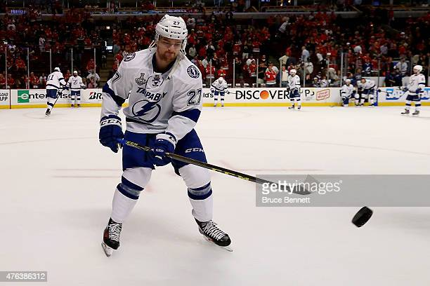 Jonathan Drouin of the Tampa Bay Lightning skates before the start of Game Three of the 2015 NHL Stanley Cup Final against the Chicago Blackhawks at...