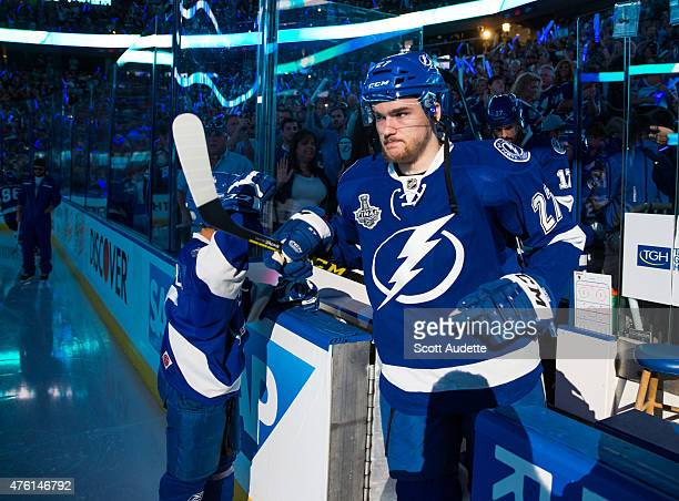 Jonathan Drouin of the Tampa Bay Lightning steps on to the ice before Game Two against the Chicago Blackhawks during the 2015 NHL Stanley Cup Final...