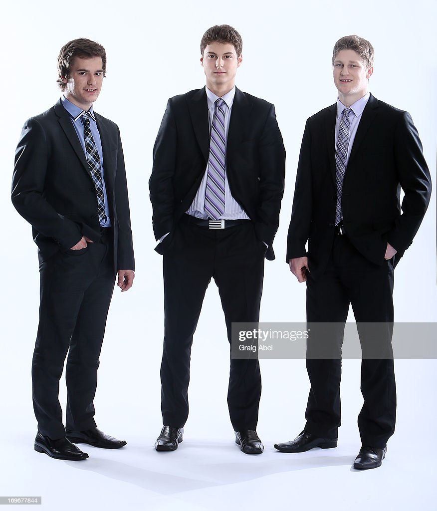 Jonathan Drouin, Zachary Fucale and Nathan MacKinnon have their formal portrait taken during the 2013 NHL Combine May 30, 2013 at the Westin Bristol Place Hotel in Toronto, Ontario, Canada.