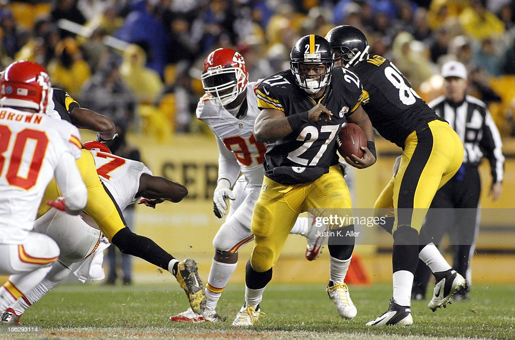 <a gi-track='captionPersonalityLinkClicked' href=/galleries/search?phrase=Jonathan+Dwyer&family=editorial&specificpeople=4501112 ng-click='$event.stopPropagation()'>Jonathan Dwyer</a> #27 of the Pittsburgh Steelers carries the ball against the Kansas City Chiefs during the game on November 12, 2012 at Heinz Field in Pittsburgh, Pennsylvania. The Steelers defeated the Chiefs 16-13.