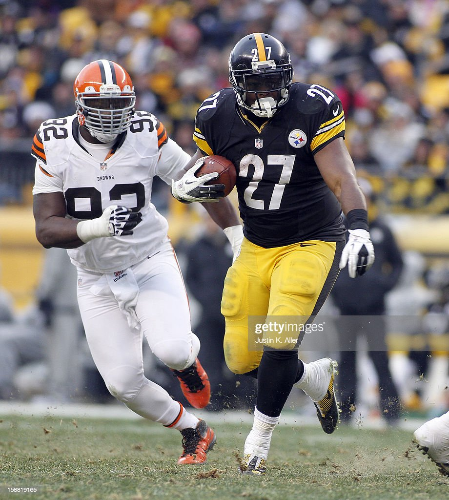 Jonathan Dwyer #27 of the Pittsburgh Steelers carries the ball against the Cleveland Browns during the game on December 30, 2012 at Heinz Field in Pittsburgh, Pennsylvania. The Steelers defeated the Browns 24-10.