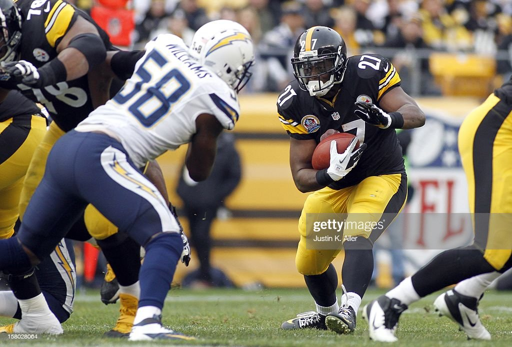 Jonathan Dwyer #27 of the Pittsburgh Steelers rushes against the San Diego Chargers during the game on December 9, 2012 at Heinz Field in Pittsburgh, Pennsylvania.
