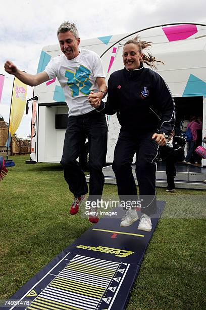 Jonathan Edwards and Karen Pickering demonstrate the standing jump during the London 2012 Roadshow at the Royal Norfolk Showground on June 27 2007 in...