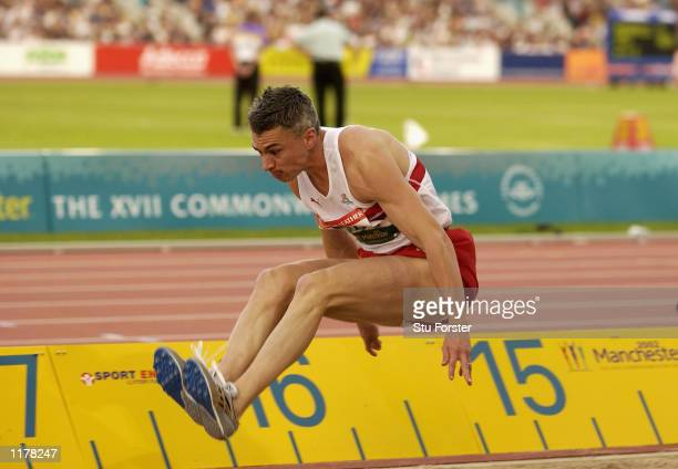 Jonathan Edwards of England in action during the Mens Triple Jump Final at City of Manchester Stadium during the 2002 Commonwealth Games Manchester...