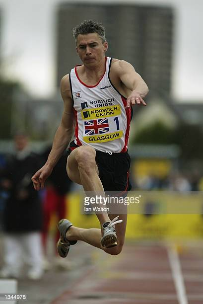 Jonathan Edwards of Great Britain and Northern Ireland in action during the Men's Triple Jump at the UK Athletics and Norwich Union Challenge at...