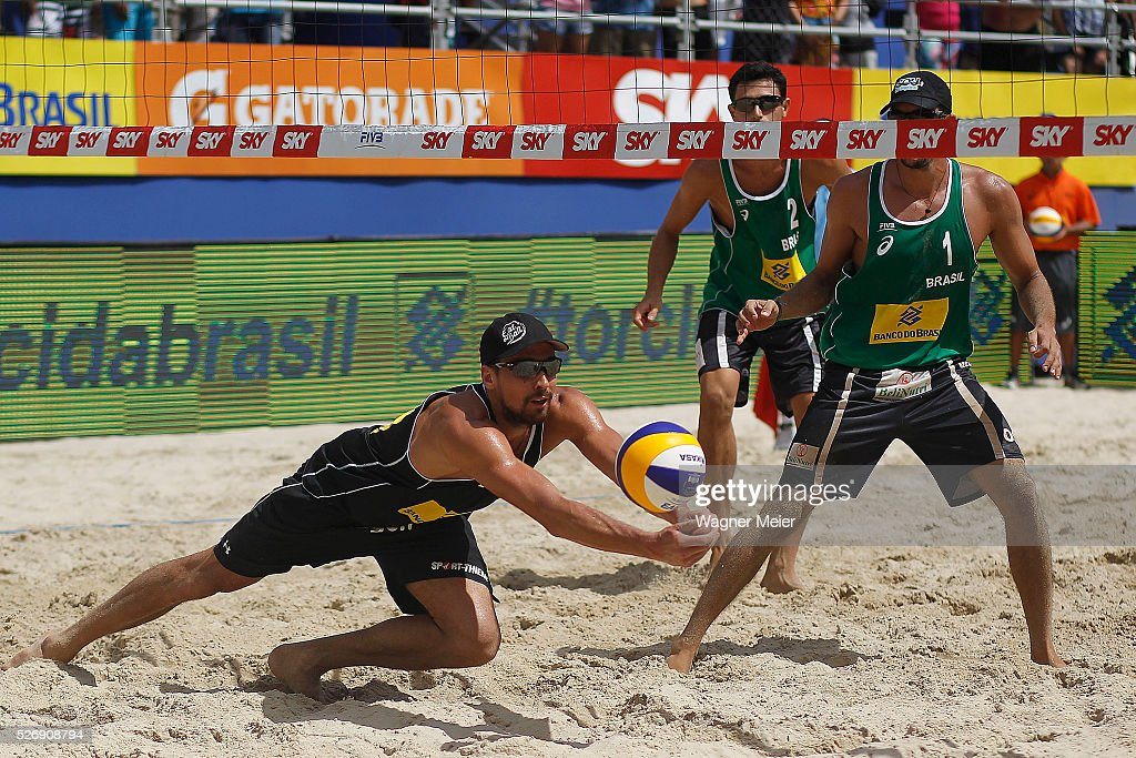 Jonathan Erdmann of Germany in action during Gold Medal match against Brazil during the FIVB Fortaleza Open on Futuro Beach on May 01, 2016 in Fortaleza, Brazil.