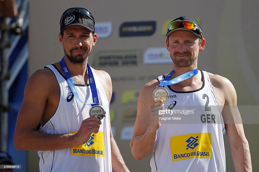 Jonathan Erdmann of Germany, receive Silver Medal, during the Men Awarding ceremony during the FIVB Fortaleza Open on Futuro Beach on May 01, 2016 in Fortaleza, Brazil.