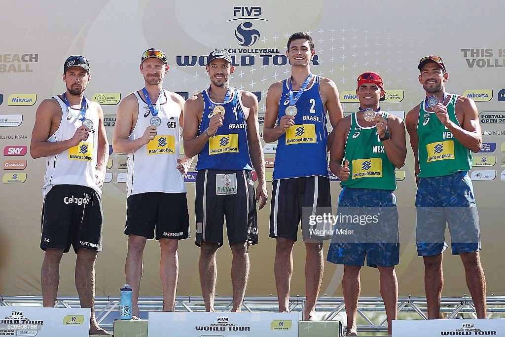 Jonathan Erdmann of Germany, receive Silver Medal, Oscar Brandao and Andre Loyola of Brazil, receive Gold Medal and Ontiveros Lombardo and Juan Virgen of Mexico, receive Bronze Medal during the Men Awarding ceremony during the FIVB Fortaleza Open on Futuro Beach on May 01, 2016 in Fortaleza, Brazil.