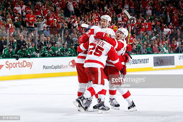 Jonathan Ericsson Mike Green Gustav Nyquist and the Detroit Red Wings celebrate a goal against the Dallas Stars at the American Airlines Center on...