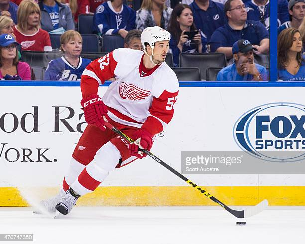 Jonathan Ericsson of the Detroit Red Wings against the Tampa Bay Lightning in Game Two of the Eastern Conference Quarterfinals during the 2015 NHL...
