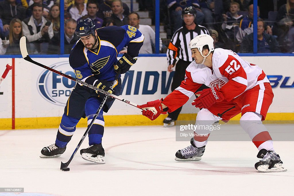 <a gi-track='captionPersonalityLinkClicked' href=/galleries/search?phrase=Jonathan+Ericsson&family=editorial&specificpeople=2538498 ng-click='$event.stopPropagation()'>Jonathan Ericsson</a> #52 of the Detroit Red wings defends against <a gi-track='captionPersonalityLinkClicked' href=/galleries/search?phrase=Roman+Polak&family=editorial&specificpeople=2109482 ng-click='$event.stopPropagation()'>Roman Polak</a> #46 of the St. Louis Blues at the Scottrade Center on January 19, 2013 in St. Louis, Missouri.