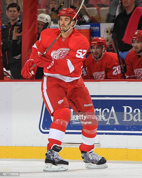 Jonathan Ericsson of the Detroit Red Wings passes the puck against the Anaheim Ducks during a NHL game on October 11 2014 at Joe Louis Arena in...
