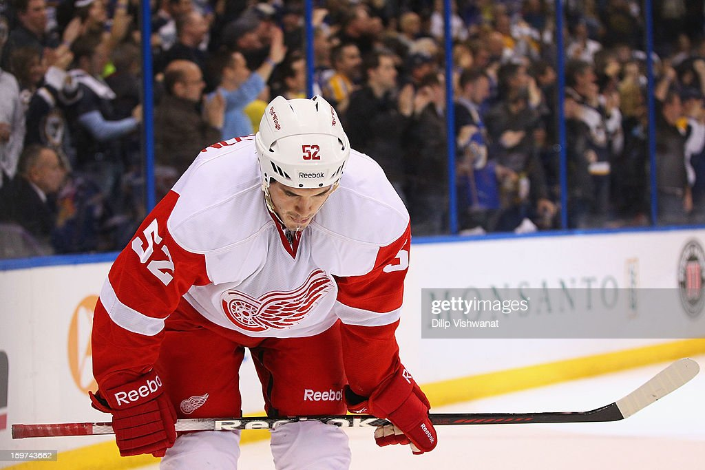 <a gi-track='captionPersonalityLinkClicked' href=/galleries/search?phrase=Jonathan+Ericsson&family=editorial&specificpeople=2538498 ng-click='$event.stopPropagation()'>Jonathan Ericsson</a> #52 of the Detroit Red wings reacts to his team giving up a sixth goal to the St. Louis Blues at the Scottrade Center on January 19, 2013 in St. Louis, Missouri.