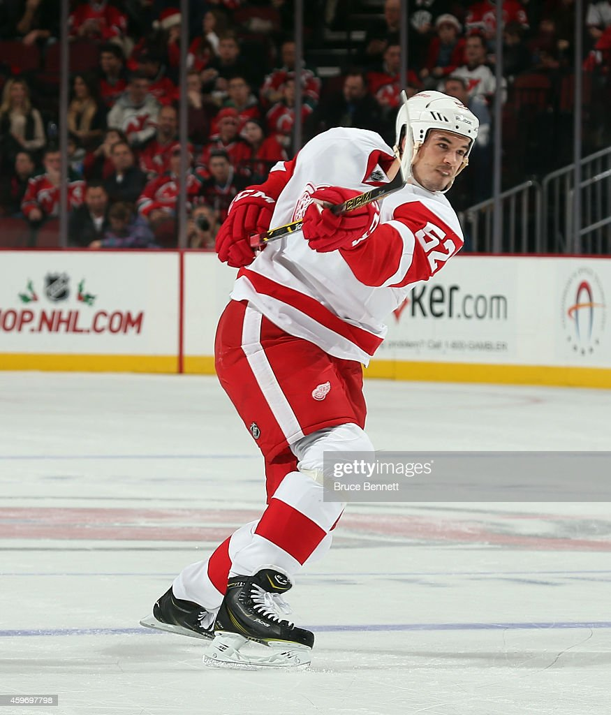 Jonathan Ericsson of the Detroit Red Wings skates against the New Jersey Devils at the Prudential Center on November 28 2014 in Newark New Jersey The...