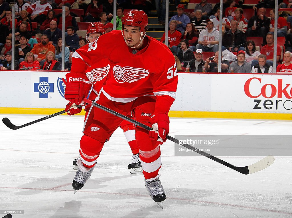 Jonathan Ericsson of the Detroit Red Wings skates against the Edmonton Oilers at Joe Louis Arena on March 14 2014 in Detroit Michigan