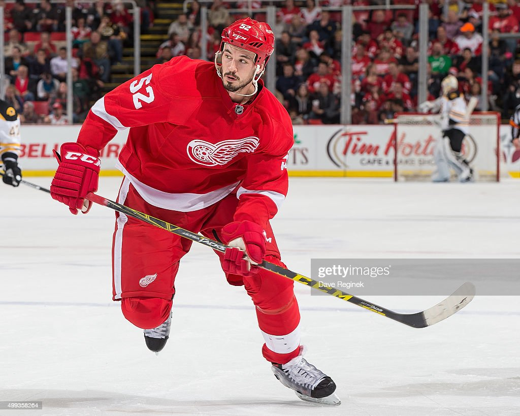 Jonathan Ericsson of the Detroit Red Wings skates up ice during an NHL game against the Boston Bruins at Joe Louis Arena on November 25 2015 in...