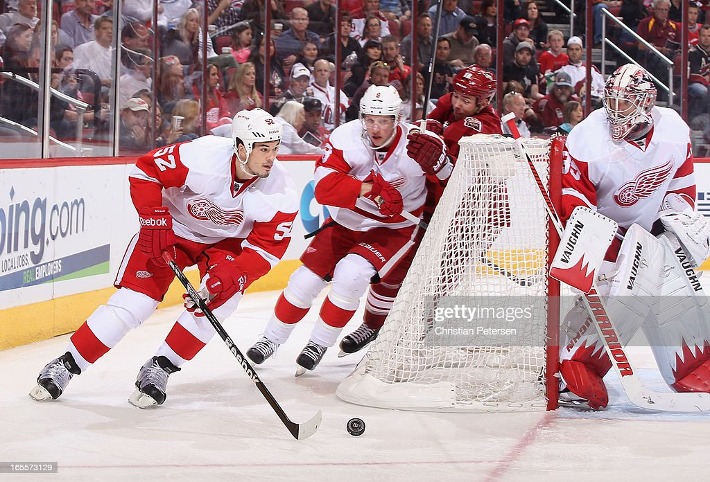 <a gi-track='captionPersonalityLinkClicked' href=/galleries/search?phrase=Jonathan+Ericsson&family=editorial&specificpeople=2538498 ng-click='$event.stopPropagation()'>Jonathan Ericsson</a> #52 of the Detroit Red Wings skates with the puck during the NHL game against the Phoenix Coyotes at Jobing.com Arena on April 4, 2013 in Glendale, Arizona. The Coyotes defeated the Red Wings 4-2.