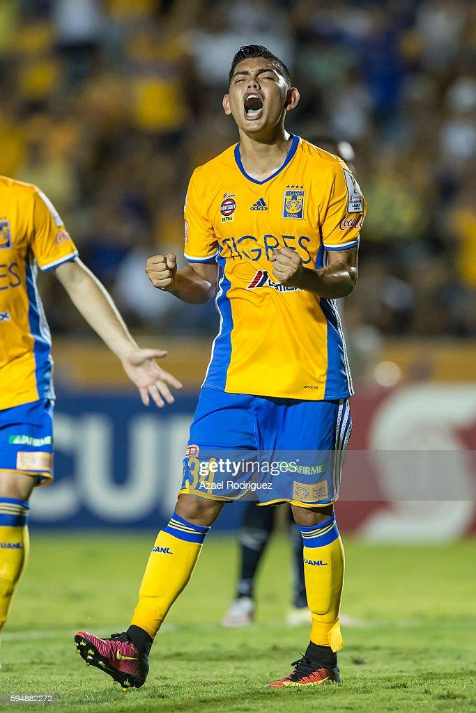 Jonathan Espericueta of Tigres celebrates after scoring his team's first goal through a penalty kick during the match between Tigres UANL and Plaza...