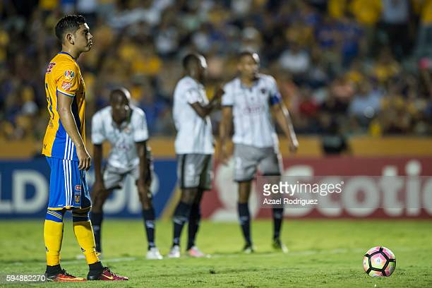 Jonathan Espericueta of Tigres prepares to take a penalty kick during the match between Tigres UANL and Plaza Amador as part of the CONCACAF...