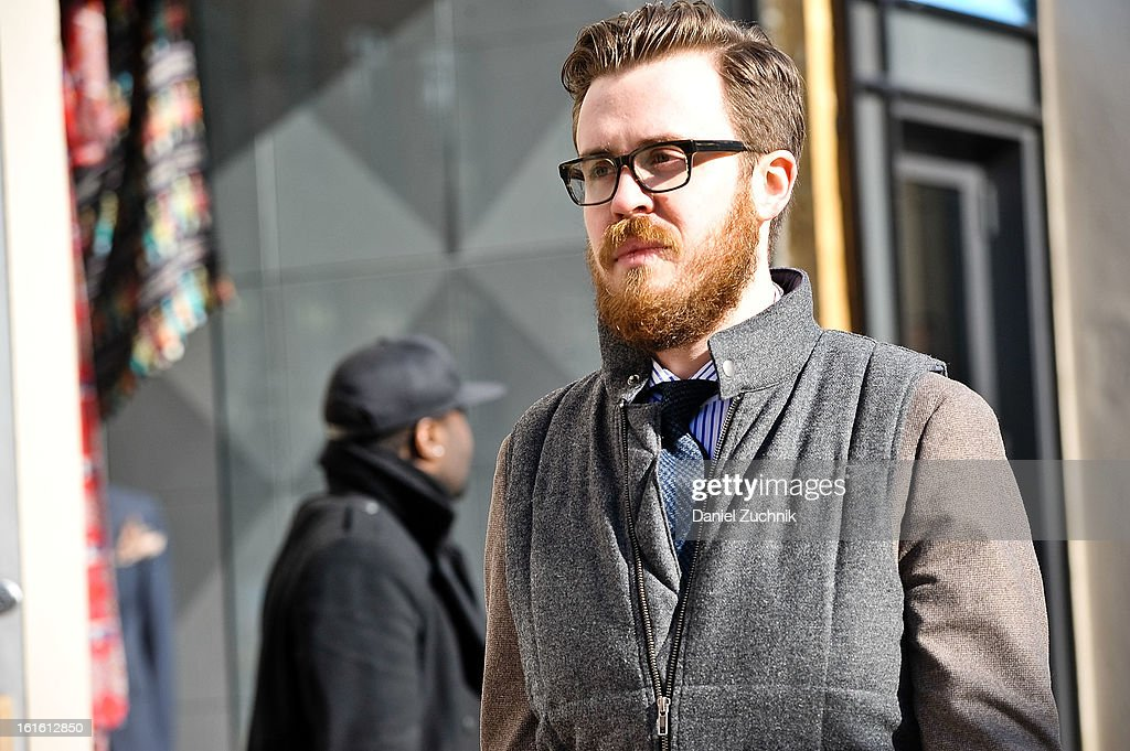 Jonathan Evans seen arriving to the Perry Ellis by Duckie Brown show on February 12, 2013 in New York City.