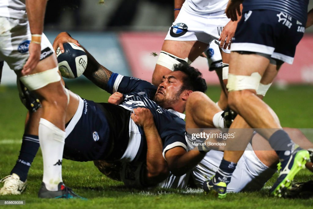 Jonathan Faamatuainu of Colomiers during the Pro D2 match between Colomiers and Vannes on October 6, 2017 in Colomiers, France.