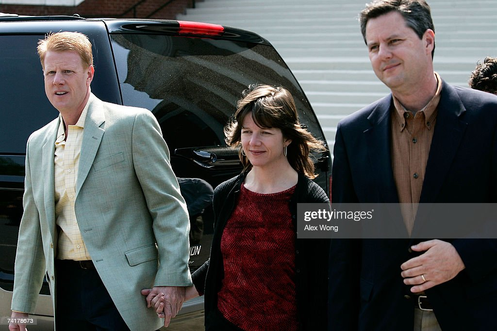 Jonathan Falwell, Jeannie Falwell Savas, and Jerry Falwell Jr. walk toward the media for an interview after a viewing of their late father, the Rev. Jerry Falwell, lying in repose at Arthur S. DeMoss Learning Center of Liberty University May 17, 2007 in Lynchburg, Virginia. Falwell, founder of Thomas Road Baptist Church and Liberty University, has died at the age of 73. The funeral service for Falwell is scheduled on May 22 at Thomas Road Baptist Church.