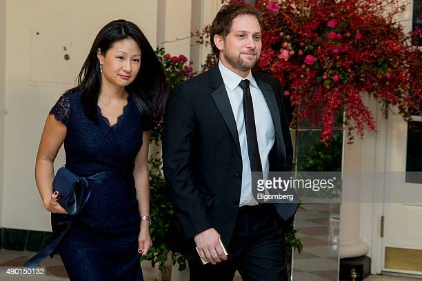 Jonathan Finer chief of staff at the US Department of State right and Jennifer Stout arrive at a state dinner in honor of Chinese President Xi...