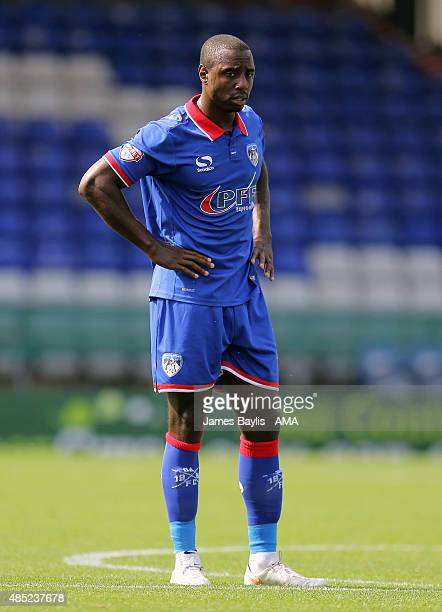 Jonathan Forte of Oldham Athletic during the Sky Bet League One match between Oldham Athletic and Shrewsbury Town at Boundary Park on August 22 2015...